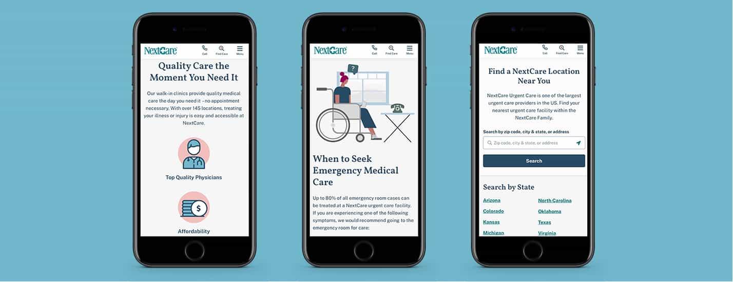 healthcare mobile website screens