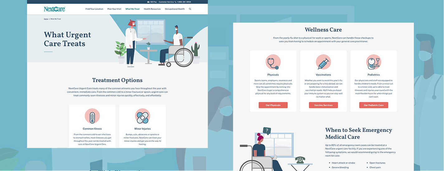 urgent care website pages