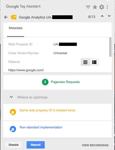 Improper Google Analytics Installation Screenshot