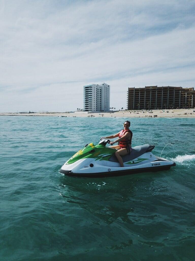 Jennifer on a jetski