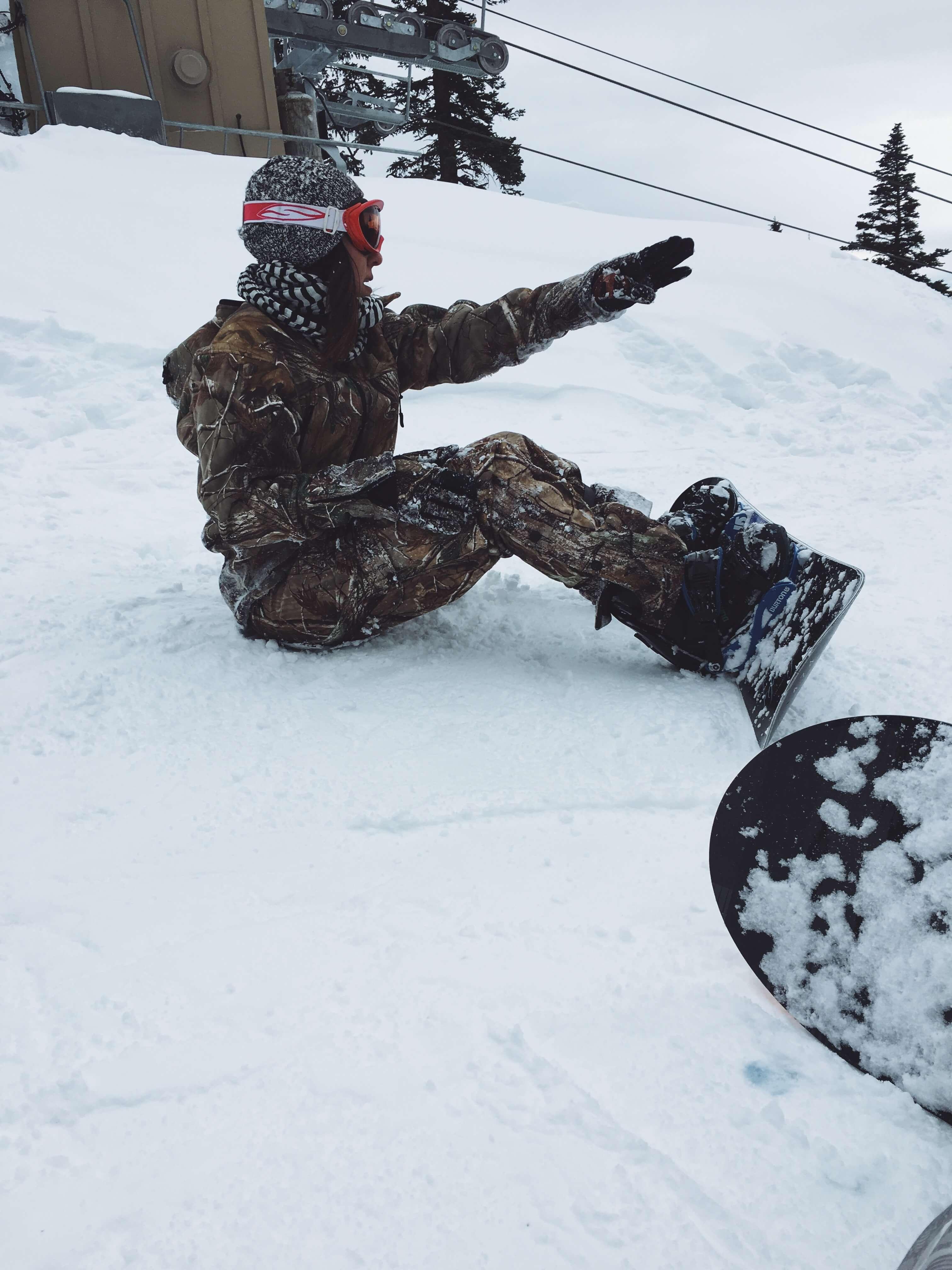 Jenn snowboarding