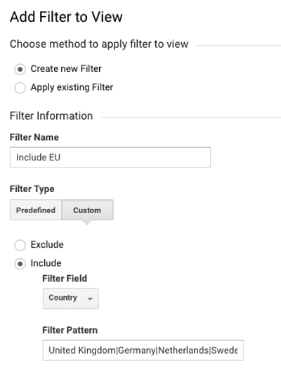 GA admin filter to allow only data from the EU for the EU View.