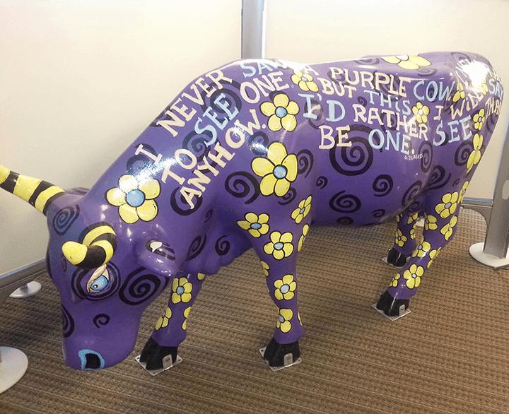purple cow statue