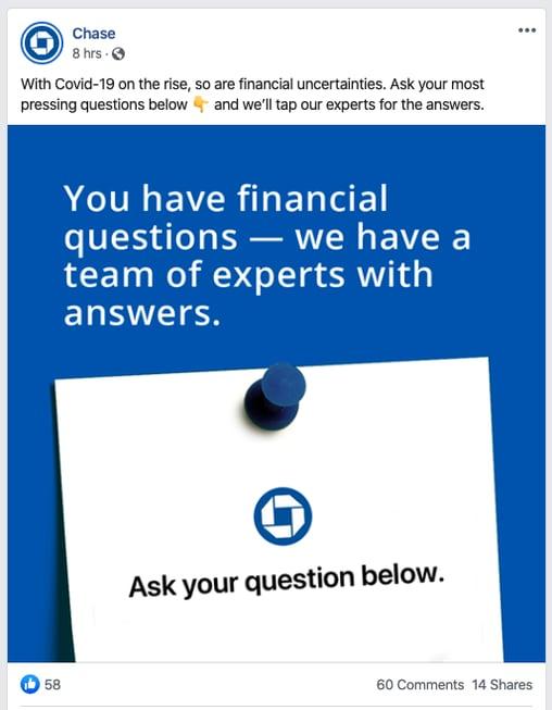 chase bank COVID-19 financial questions social media post
