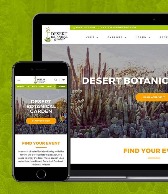 Desert Botanical Garden mobile homepage