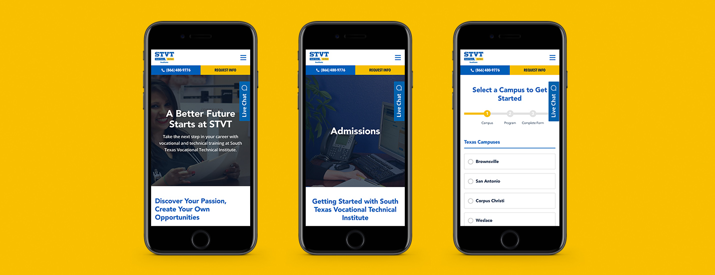 higher education digital marketing agency mobile experience example