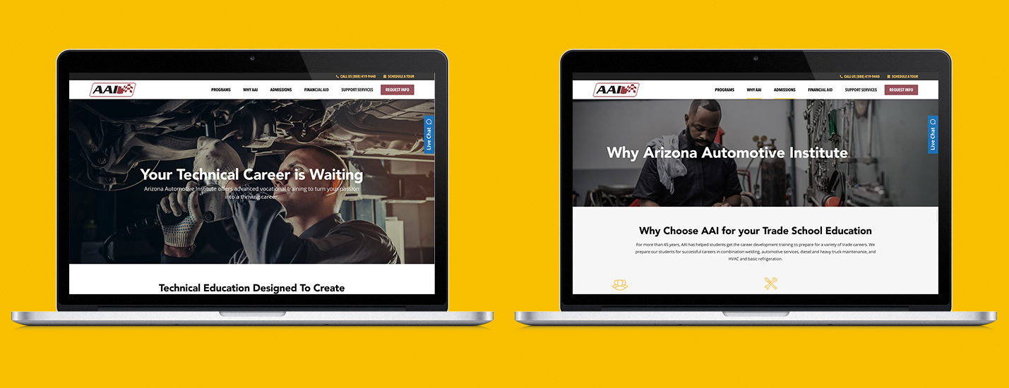 higher education website design examples mocked up in a laptop