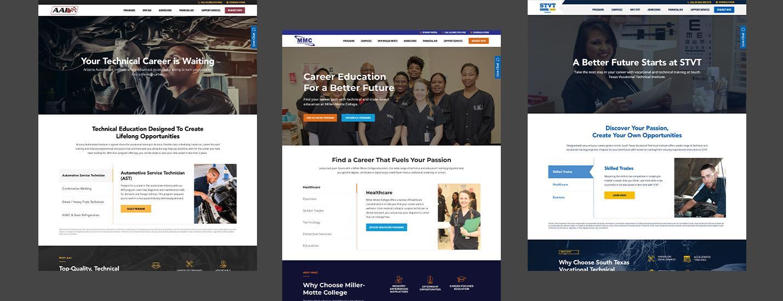higher education website development homepage examples