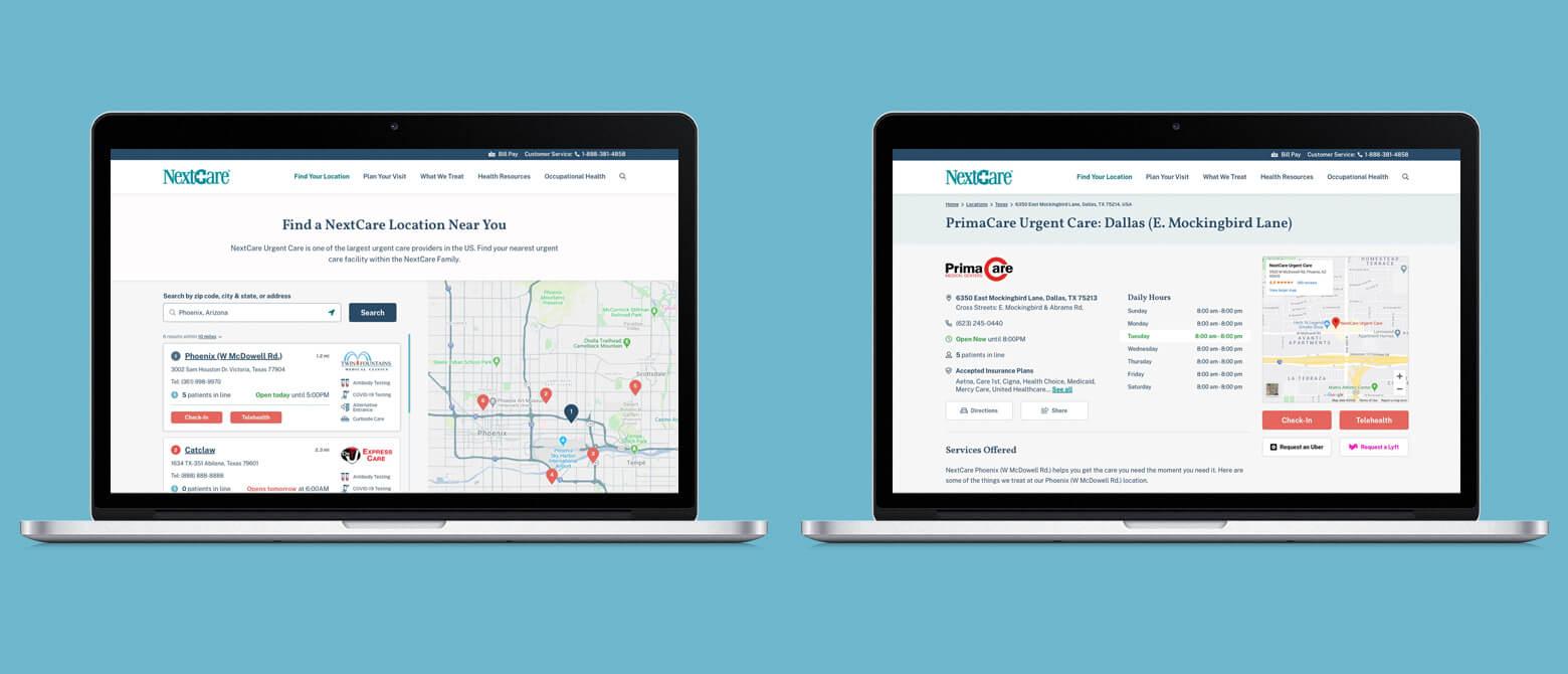 desktop views of healthcare location pages