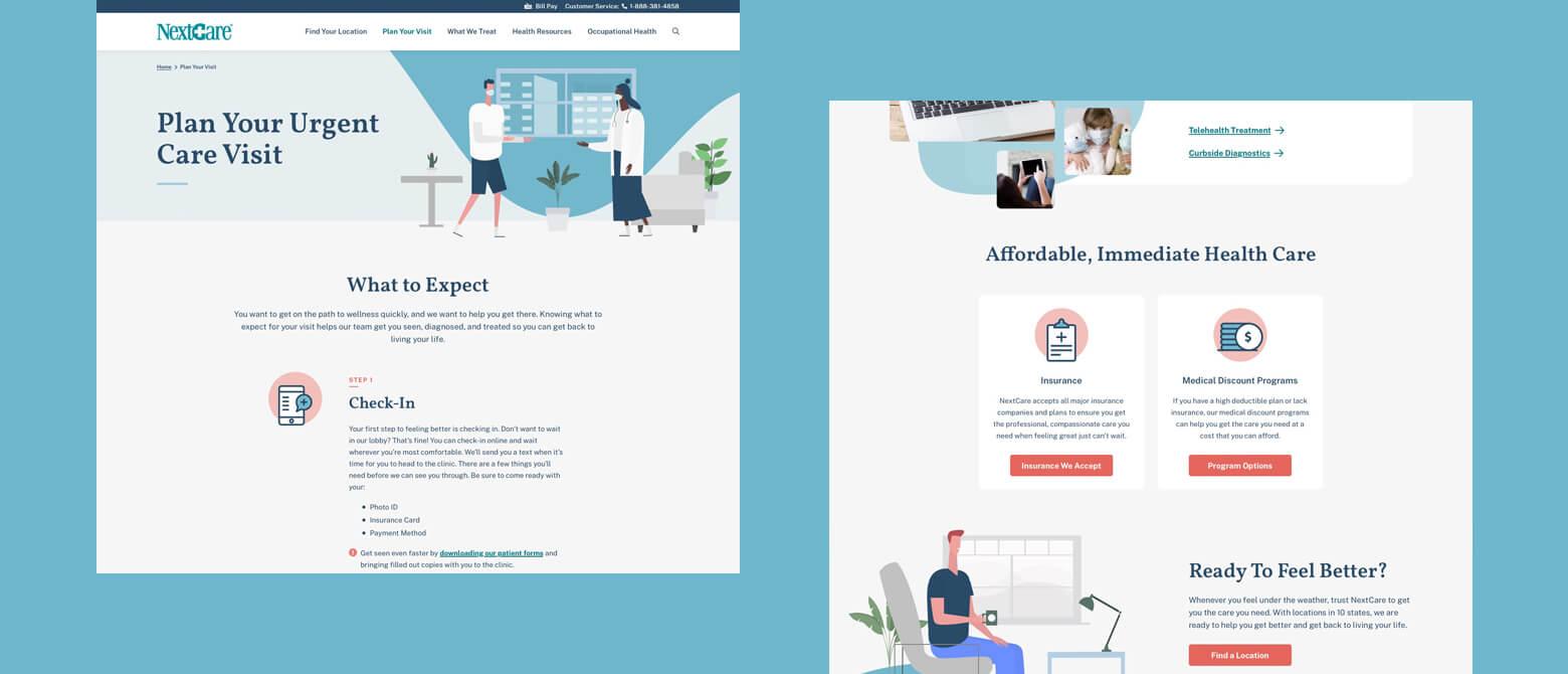 healthcare website visit pages